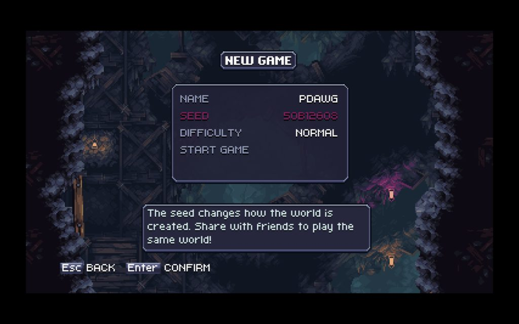 New game screen, showcasing the random seed used to generate the world