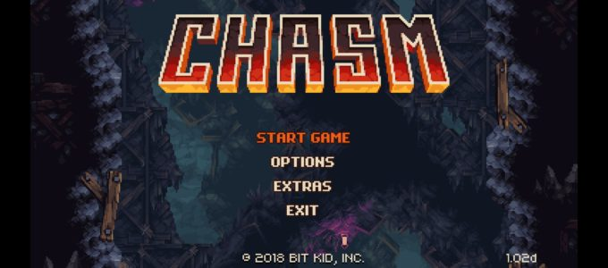 Chasm's title screen, featuring the title in big letters