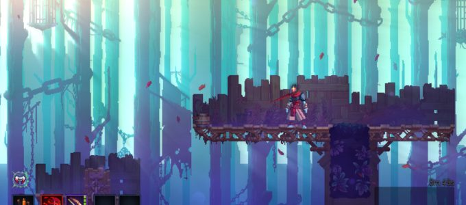 A gloomy forested area with morning sunlight streaming in, showcasing Dead Cells' art